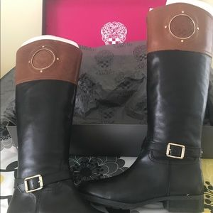 Vince Camuto Black/Russet WIDE CALF Boots.